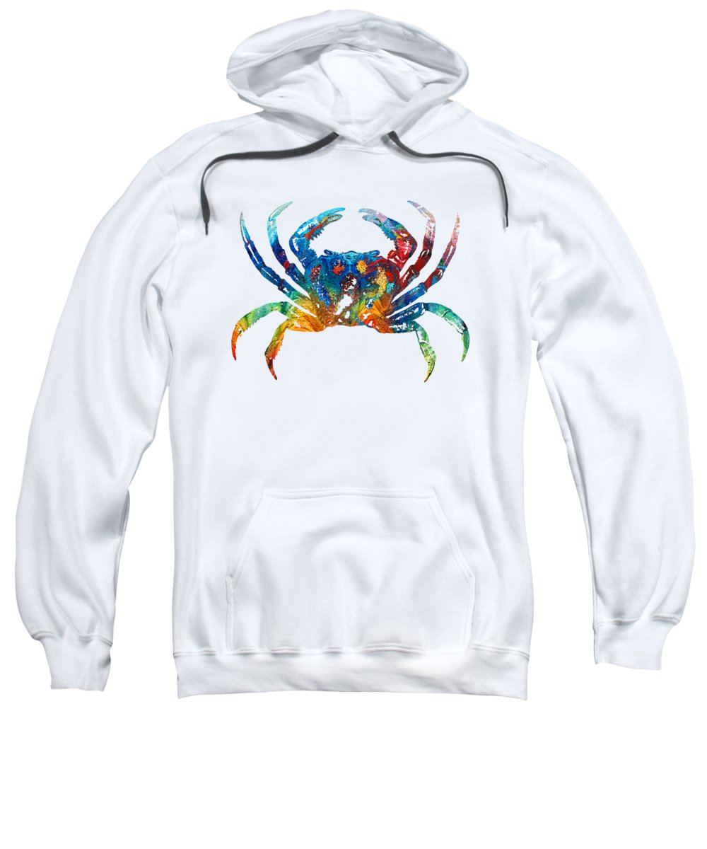 Crab Sweatshirt featuring the painting Colorful Crab Art by Sharon Cummings by Sharon Cummings