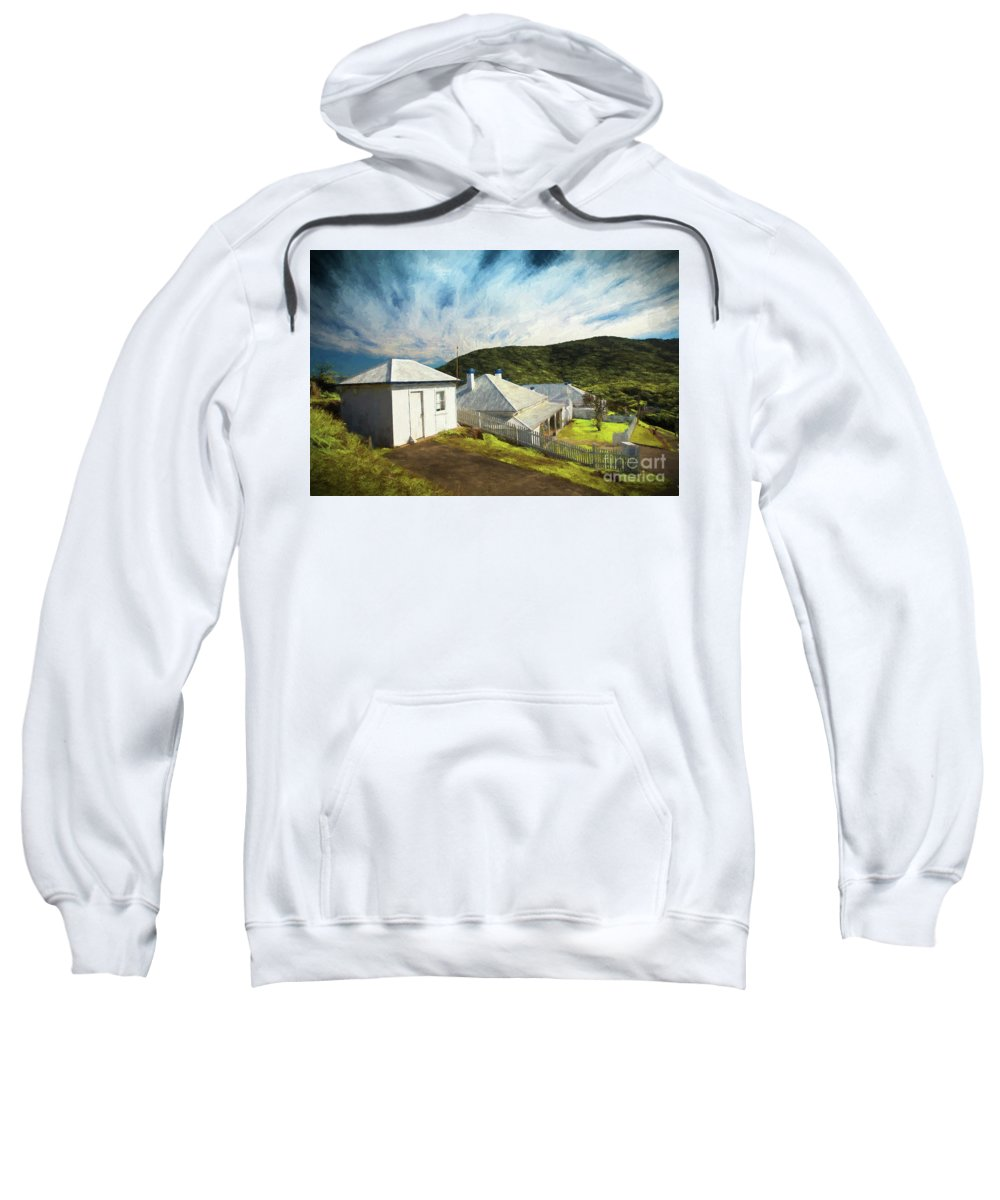 Painterly Image Sweatshirt featuring the photograph Cottages at Smoky Cape, Rembrandt style by Sheila Smart Fine Art Photography