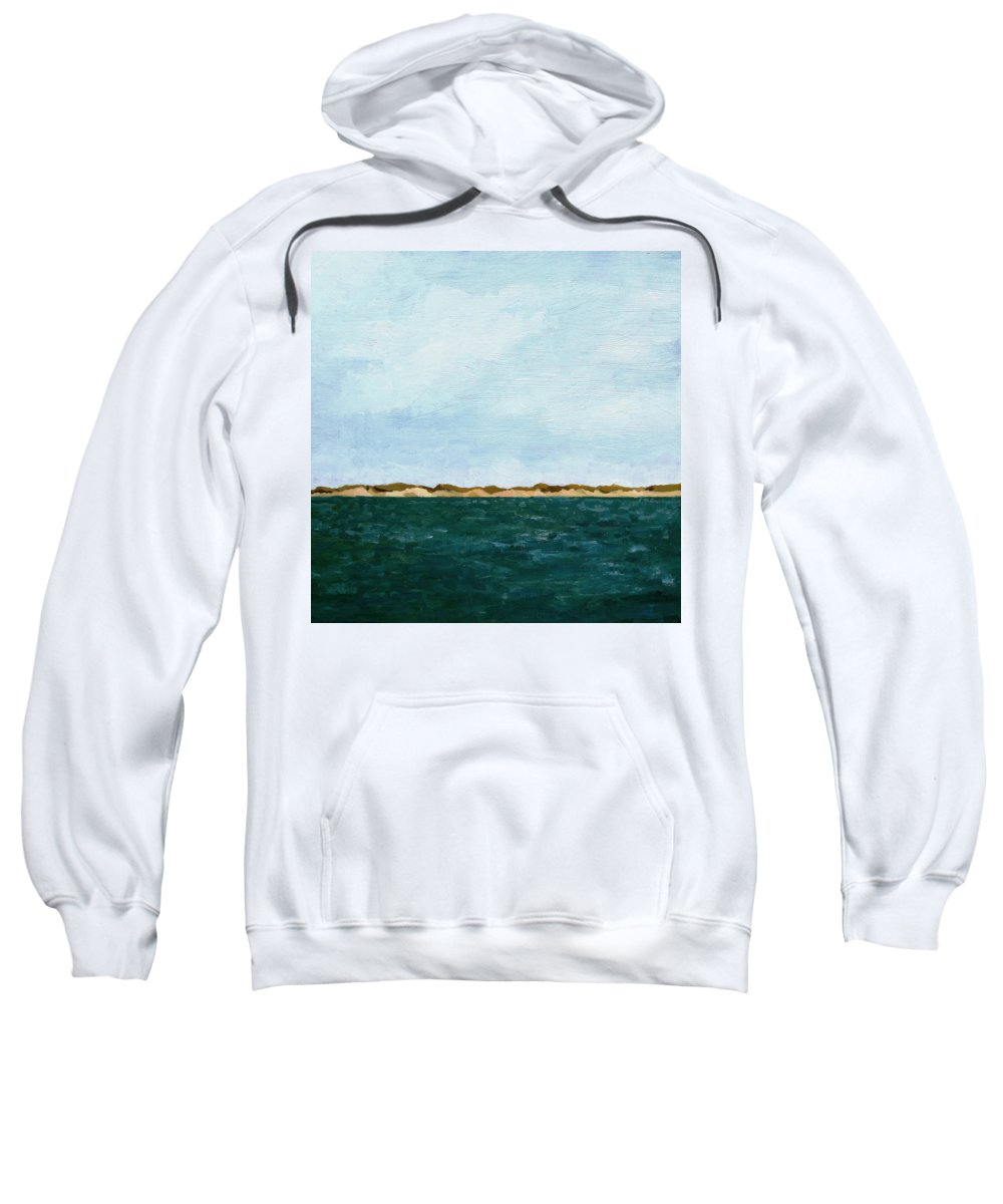 Lake Sweatshirt featuring the painting Dunes of Lake Michigan with Big Sky by Michelle Calkins