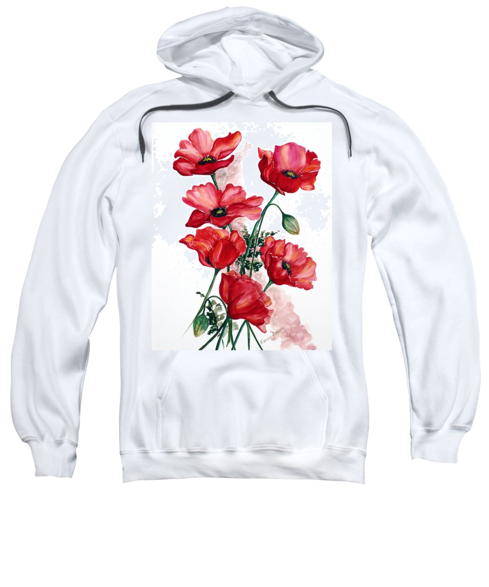 Original Watercolor Of English Field Poppies Painted On Arches Watercolor Paper Sweatshirt featuring the painting English Field Poppies. by Karin Dawn Kelshall- Best