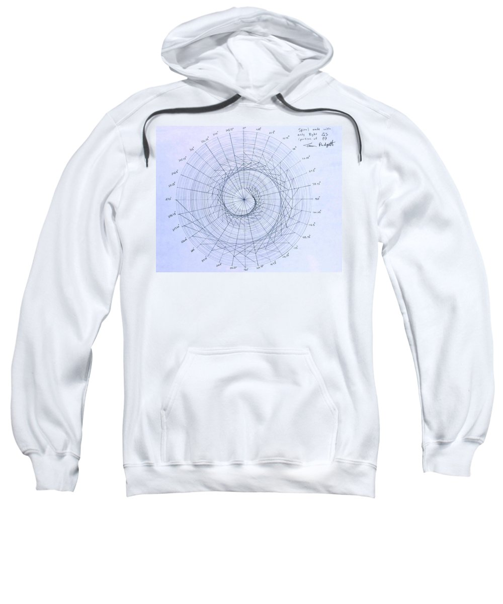 Spiral Sweatshirt featuring the drawing Expanding triangle by Jason Padgett