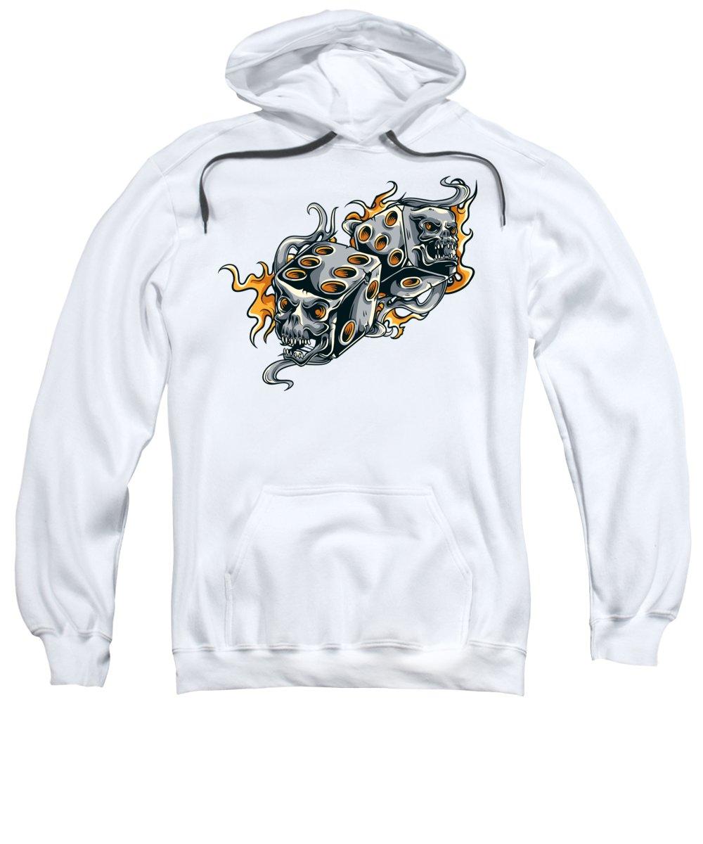 Skull Sweatshirt featuring the digital art Fiery Skull Dice by Passion Loft