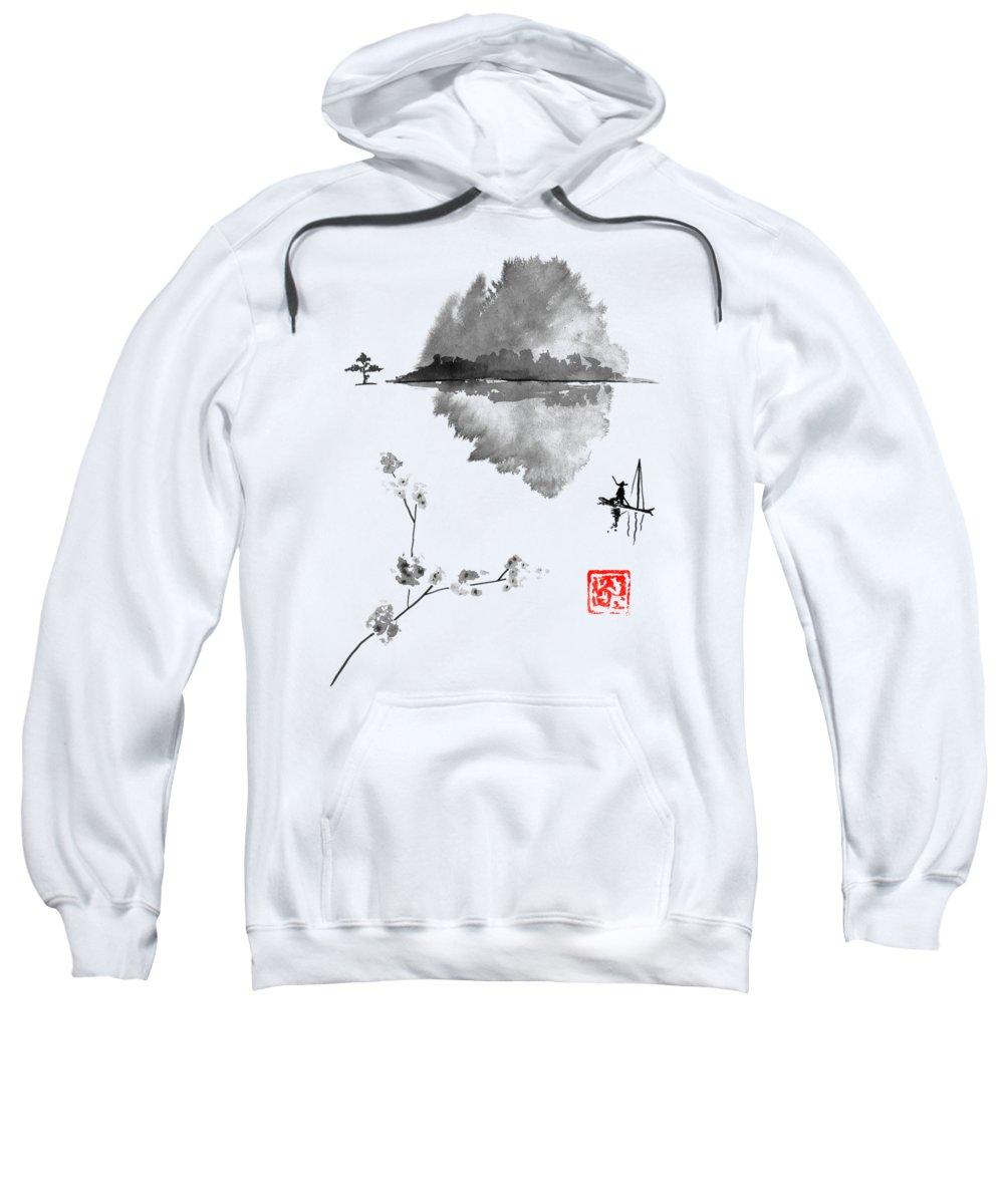 Island Sweatshirt featuring the drawing Fisherman by Pechane Sumie