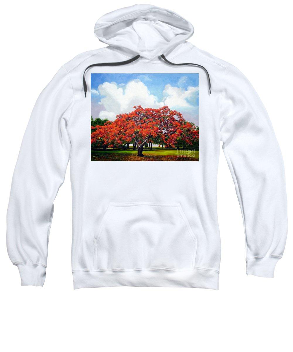 Cuban Art Sweatshirt featuring the painting Flamboyan by Jose Manuel Abraham