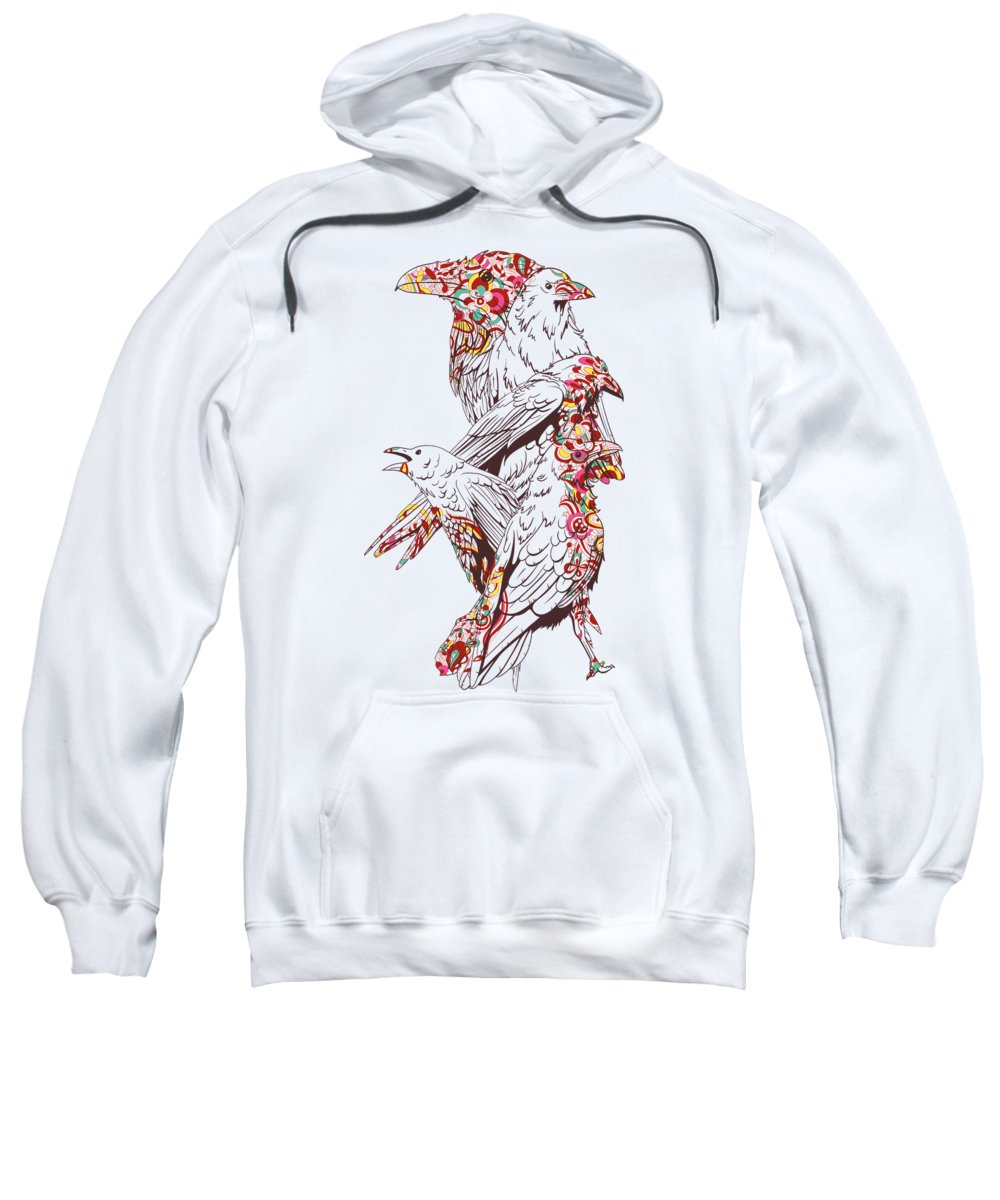 Colorful Sweatshirt featuring the digital art Floral Bird by Jacob Zelazny