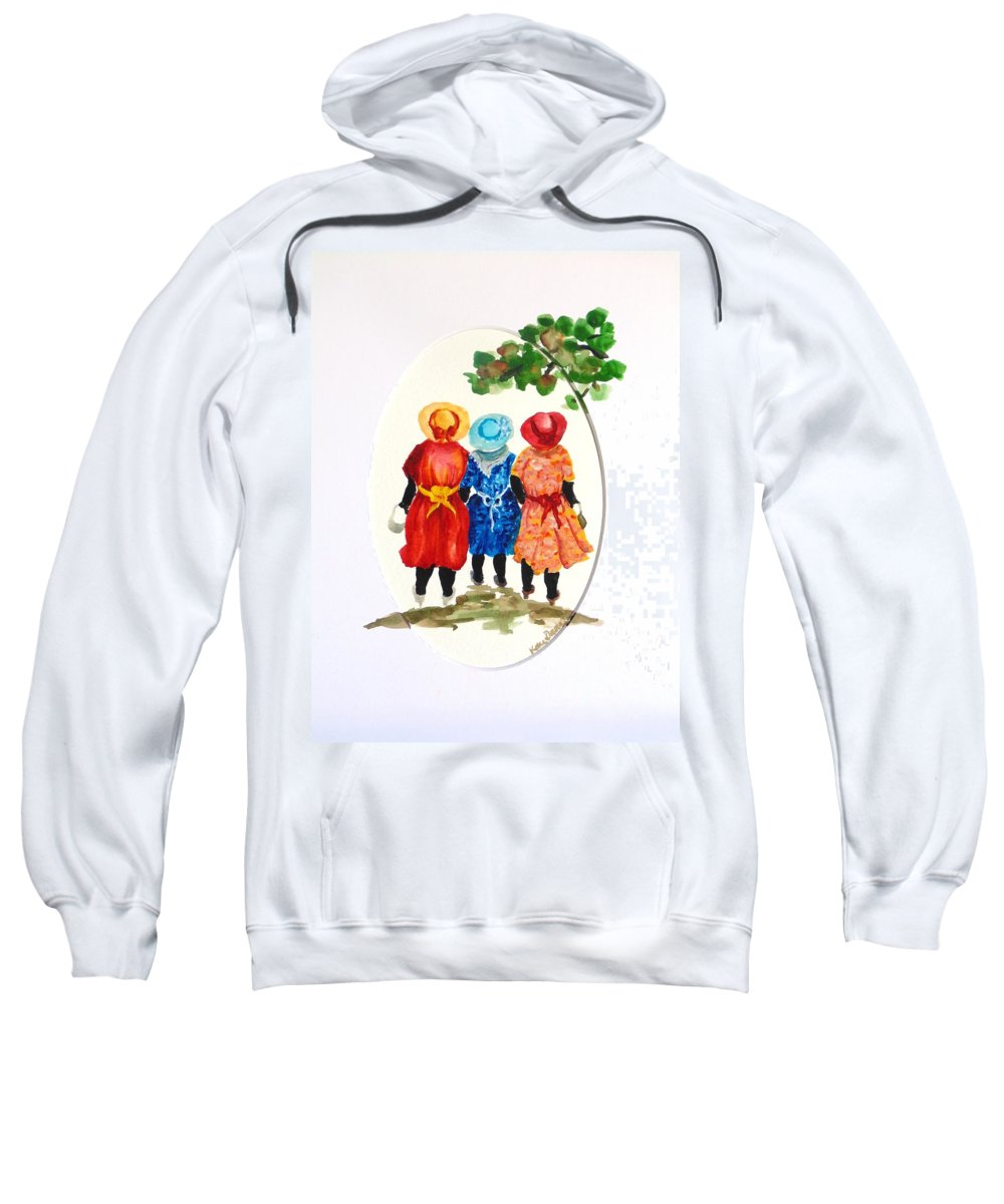 Three Women Caribbean Sweatshirt featuring the painting Going to church by Karin Dawn Kelshall- Best
