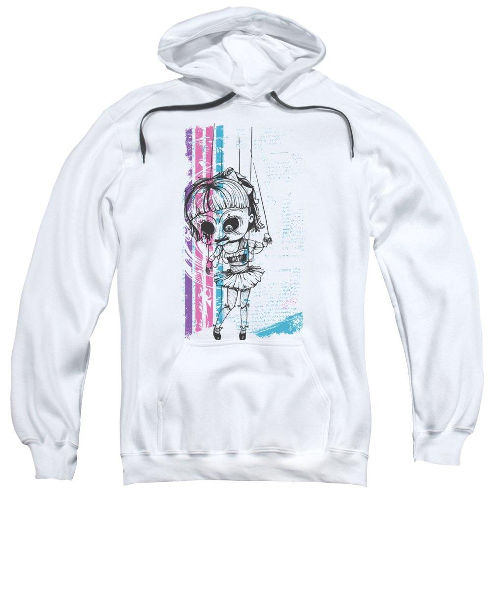 Halloween Sweatshirt featuring the digital art Grunge Doll by Jacob Zelazny