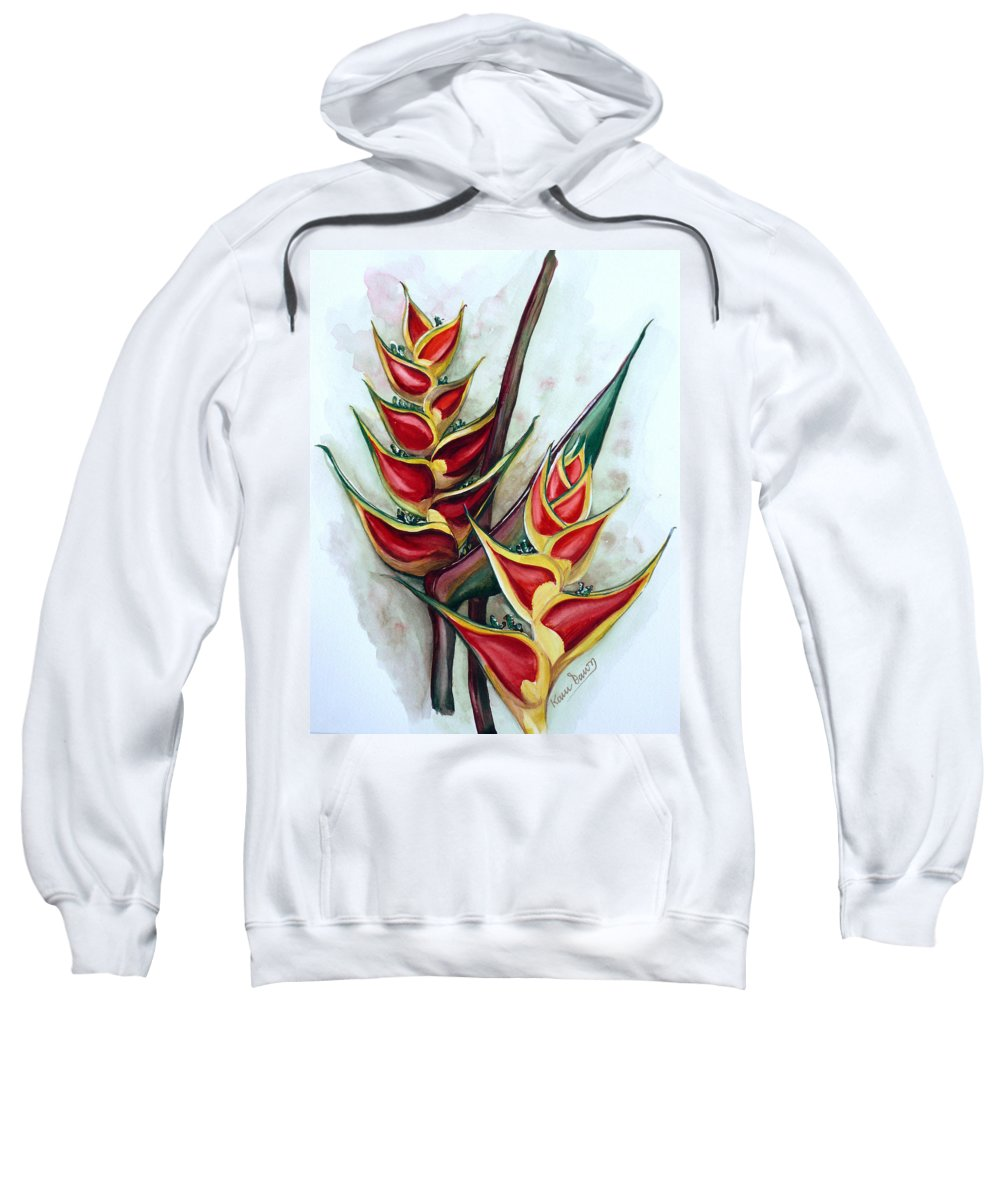 Caribbean Painting Flower Painting Floral Painting Heliconia Painting Original Watercolor Painting Of Heliconia Bloom  Trinidad And Tobago Painting Botanical Painting Sweatshirt featuring the painting Heliconia Tropicana Trinidad by Karin Dawn Kelshall- Best
