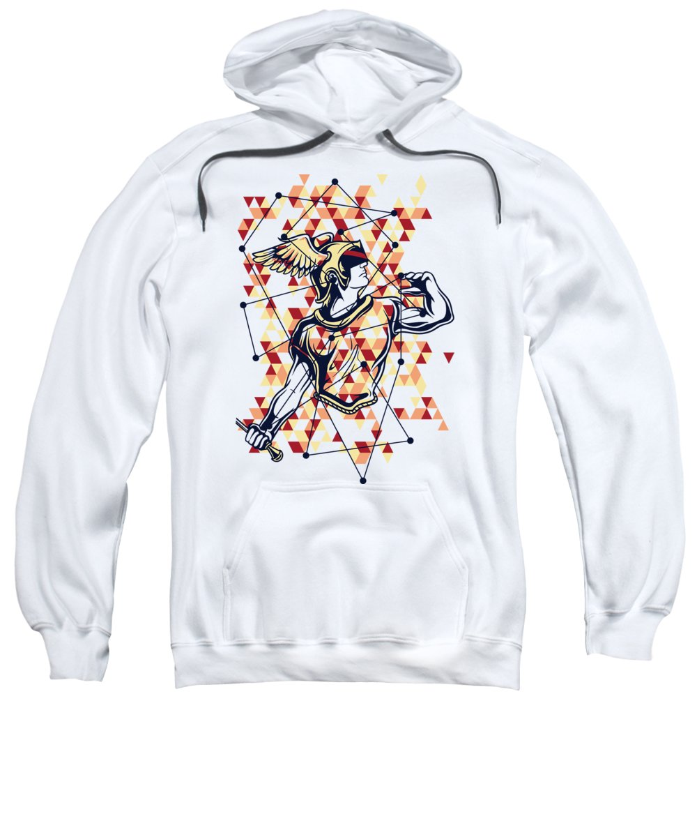 Greek Mythology Sweatshirt featuring the digital art Hermes Greek God by Passion Loft