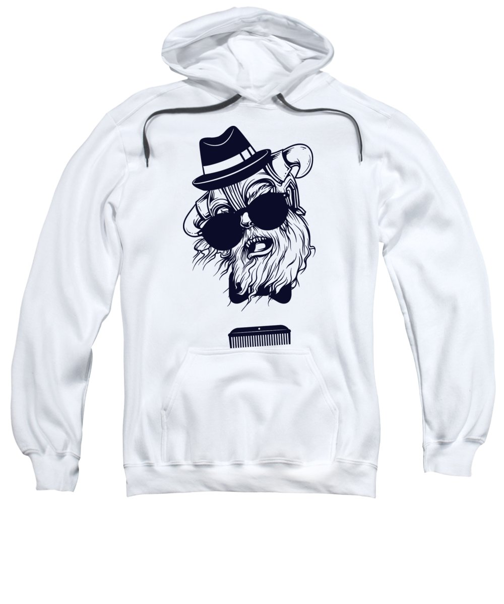 Monster Sweatshirt featuring the digital art Hipster Viking by Passion Loft