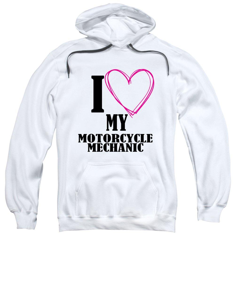 Dirtbike Mechanic Sweatshirt featuring the digital art I Heart My Motorcycle Mechanic by Passion Loft