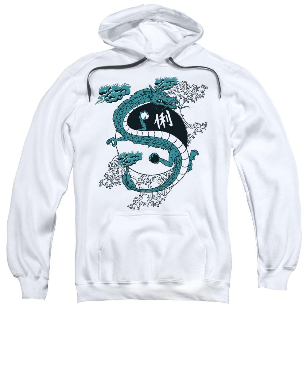 Asian Sweatshirt featuring the digital art Japanese Dragon YinYang Water Waves by Jacob Zelazny