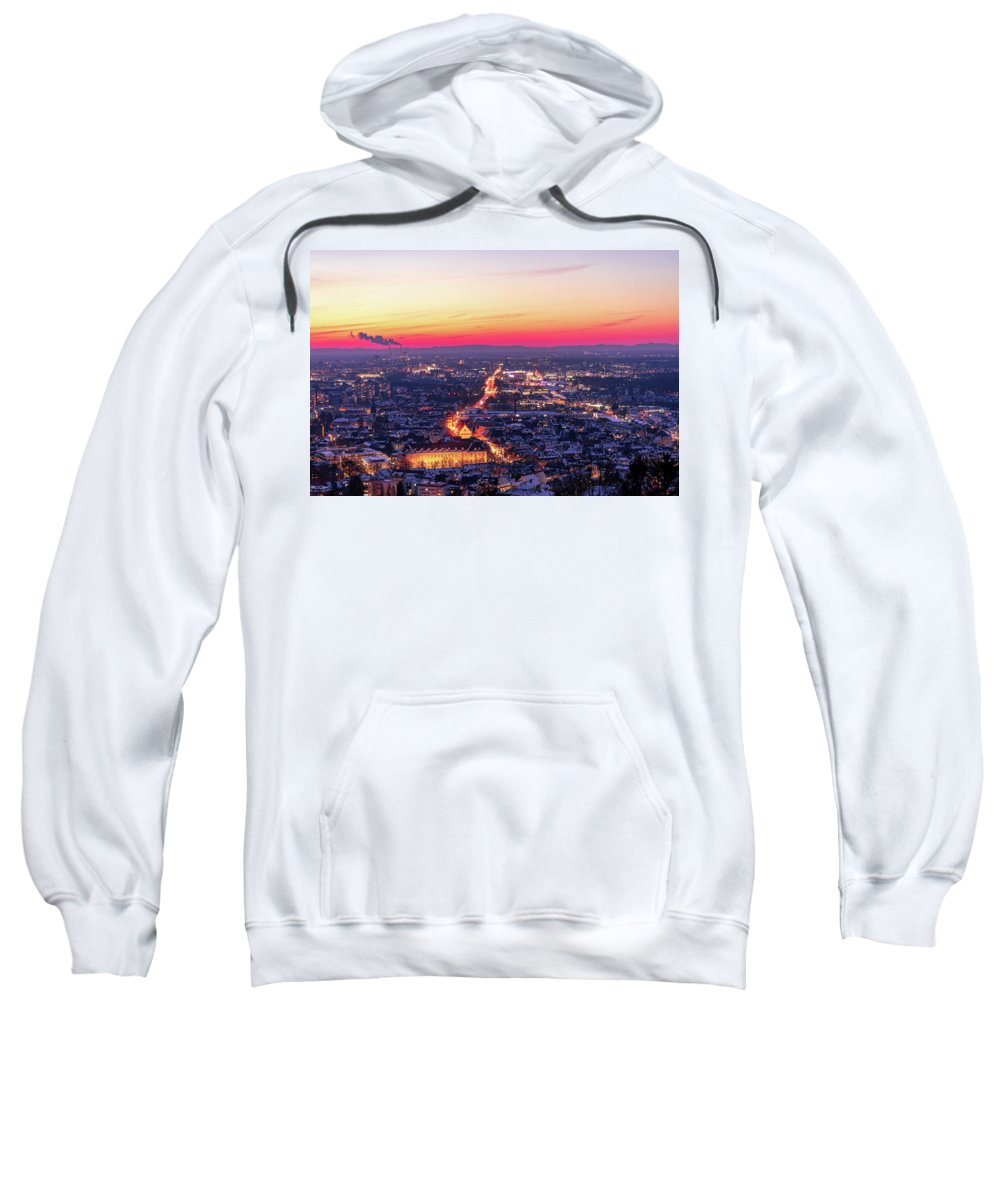 Karlsruhe Sweatshirt featuring the photograph Karlsruhe in winter at sunset by Hannes Roeckel