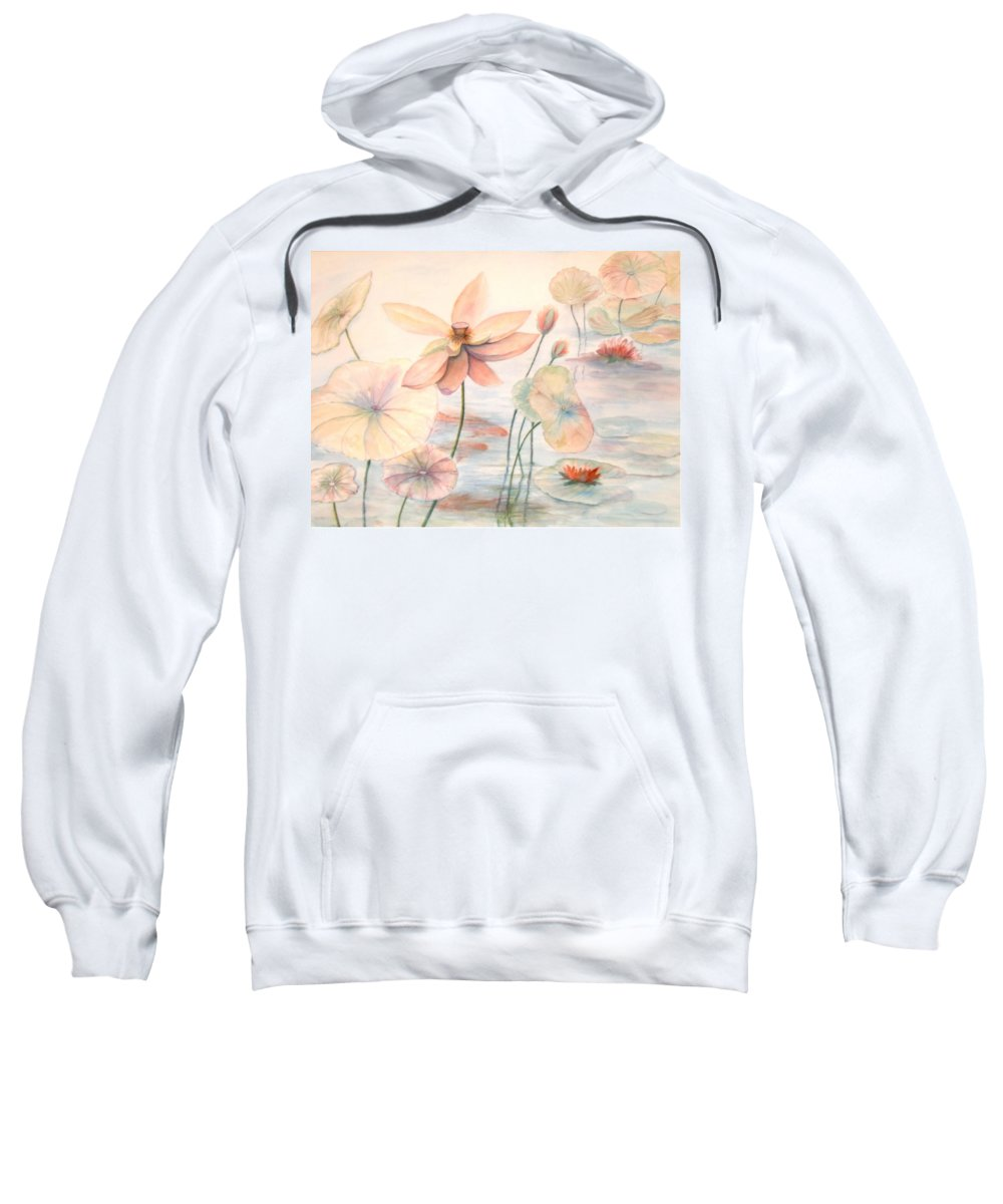Lily Pads And Lotus Blossoms Sweatshirt featuring the painting Lily Pads by Ben Kiger