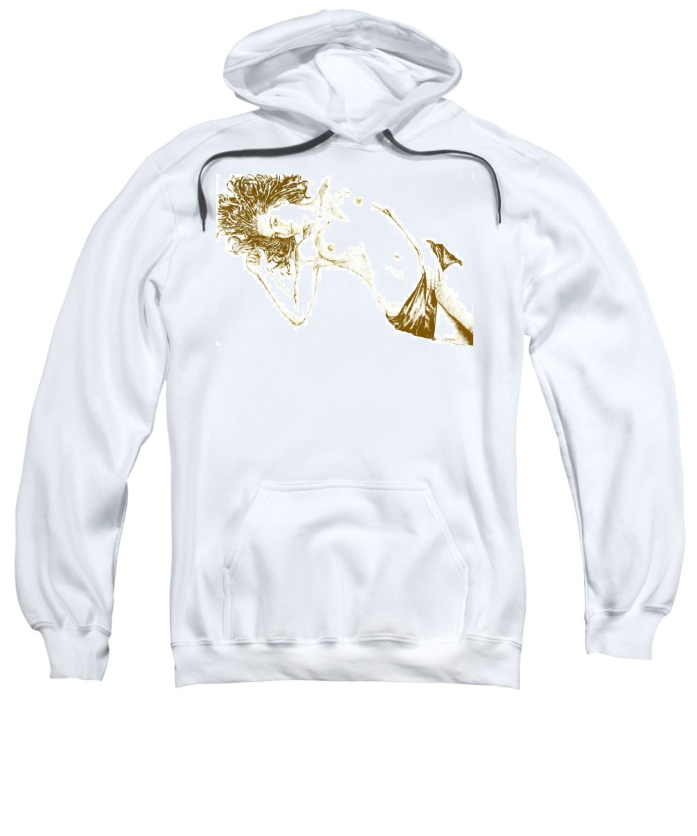Nude Sweatshirt featuring the painting Minx by Richard Young