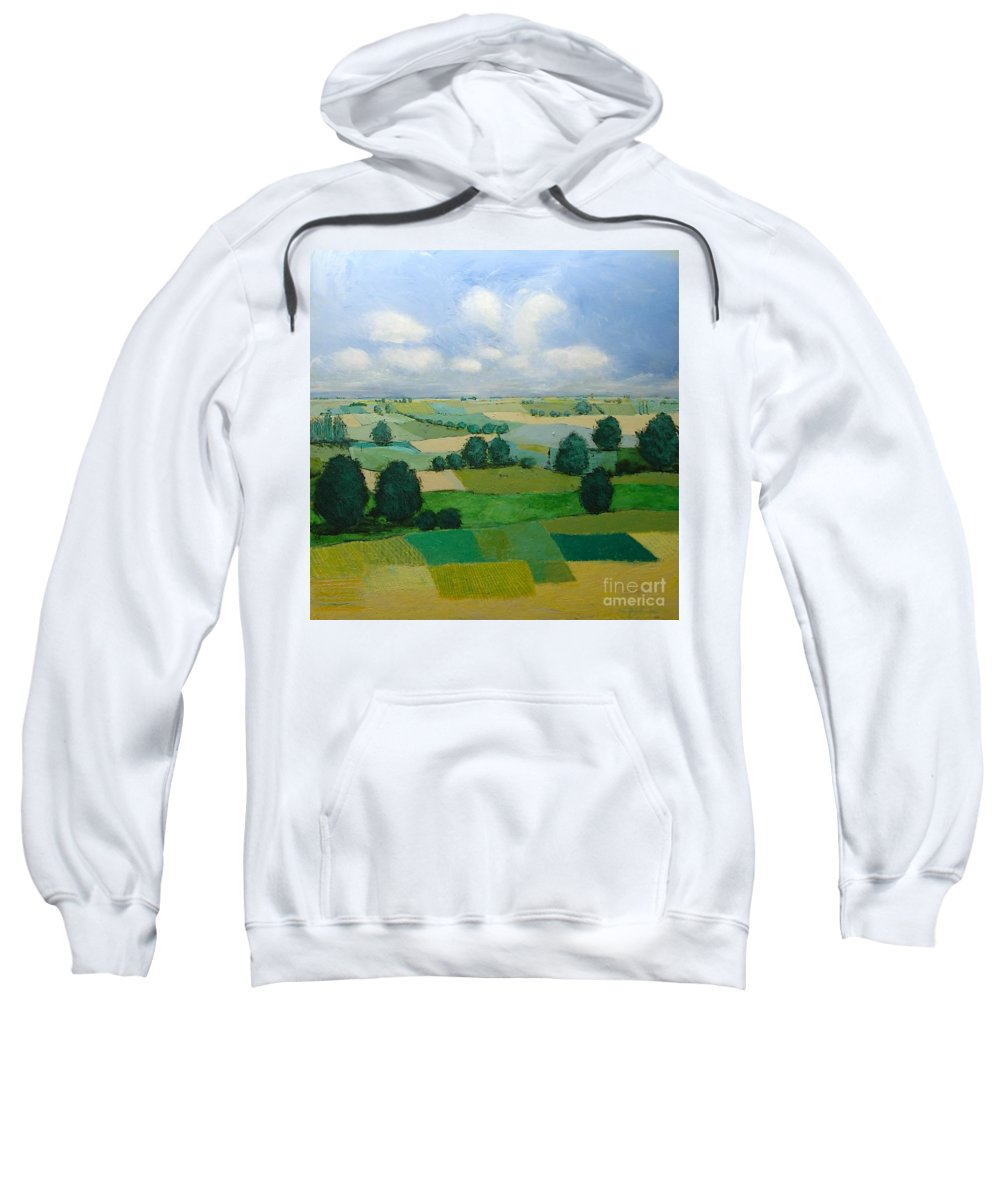 Landscape Sweatshirt featuring the painting Morning Calm by Allan P Friedlander