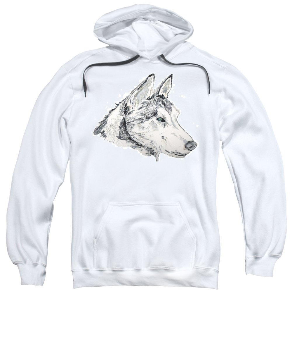 Wolf Sweatshirt featuring the painting Noble Soul by Crystal Hubbard