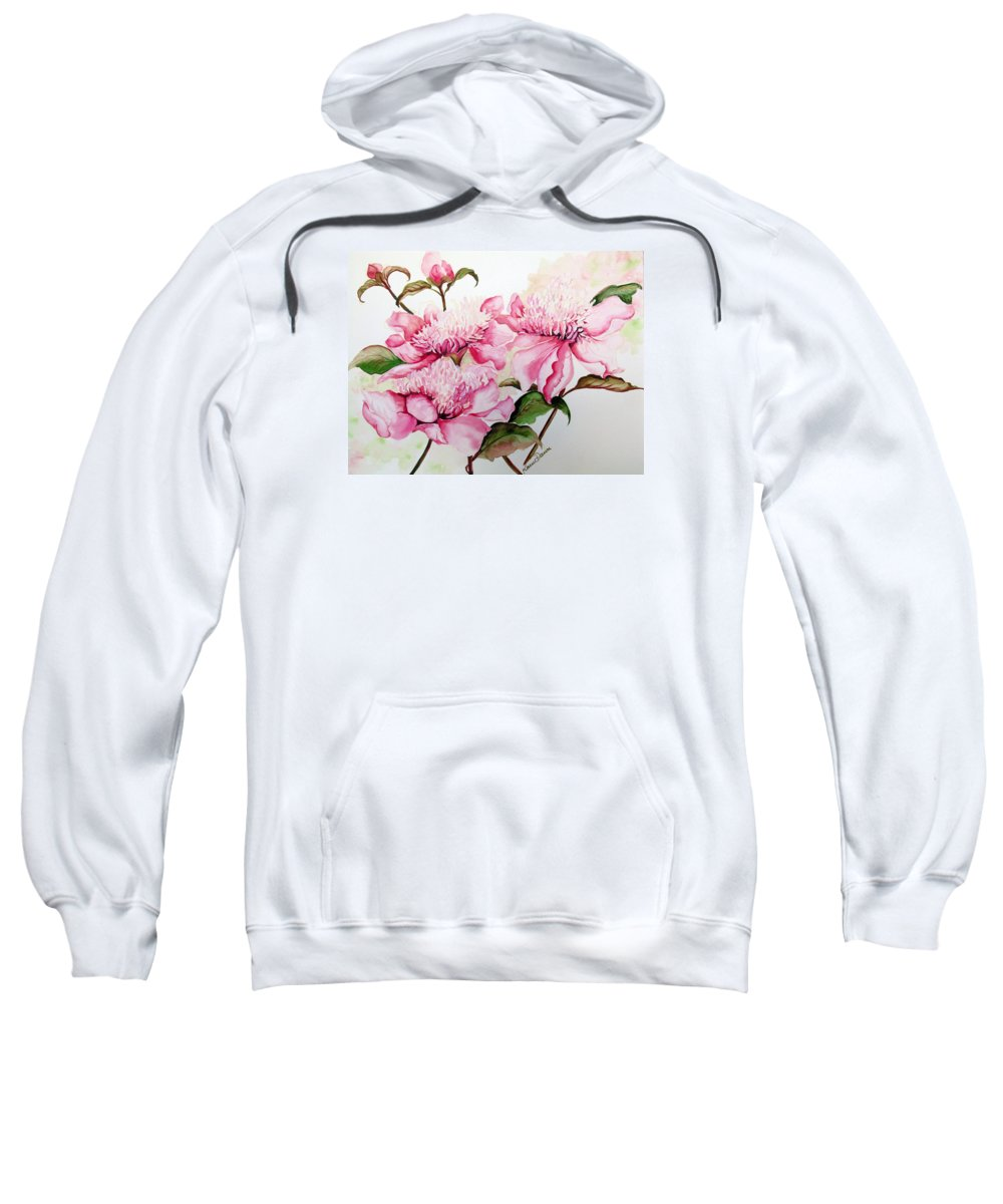 Flower Painting Flora Painting Pink Peonies Painting Botanical Painting Flower Painting Pink Painting Greeting Card Painting Pink Peonies Sweatshirt featuring the painting Peonies by Karin Dawn Kelshall- Best