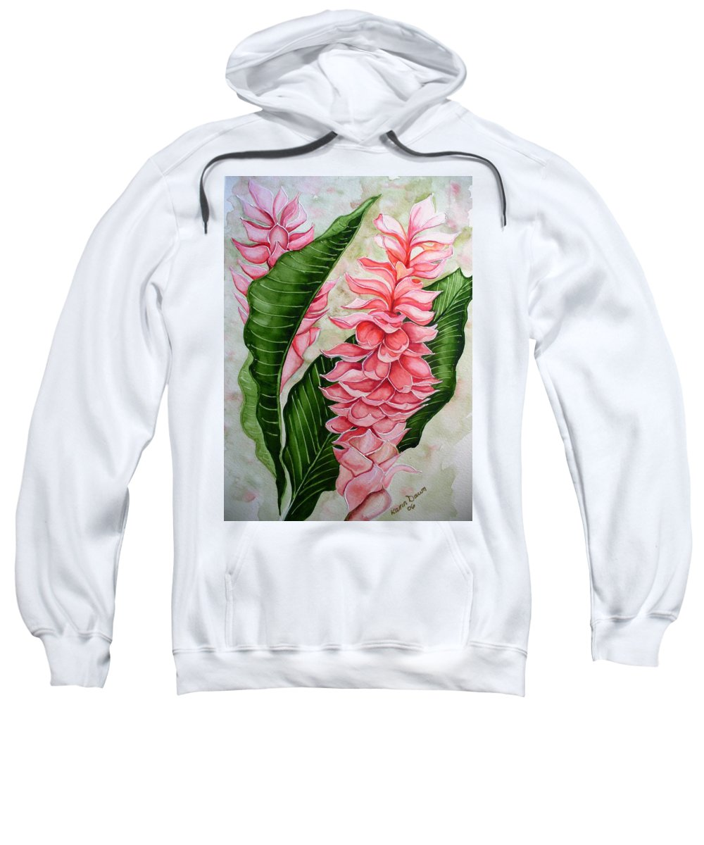 Flower Painting Floral Painting Botanical Painting Ginger Lily Painting Original Watercolor Painting Caribbean Painting Tropical Painting Sweatshirt featuring the painting Pink Ginger Lilies by Karin Dawn Kelshall- Best