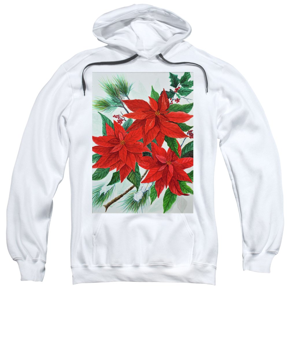 Poinsettias Sweatshirt featuring the painting Poinsettias by Ben Kiger