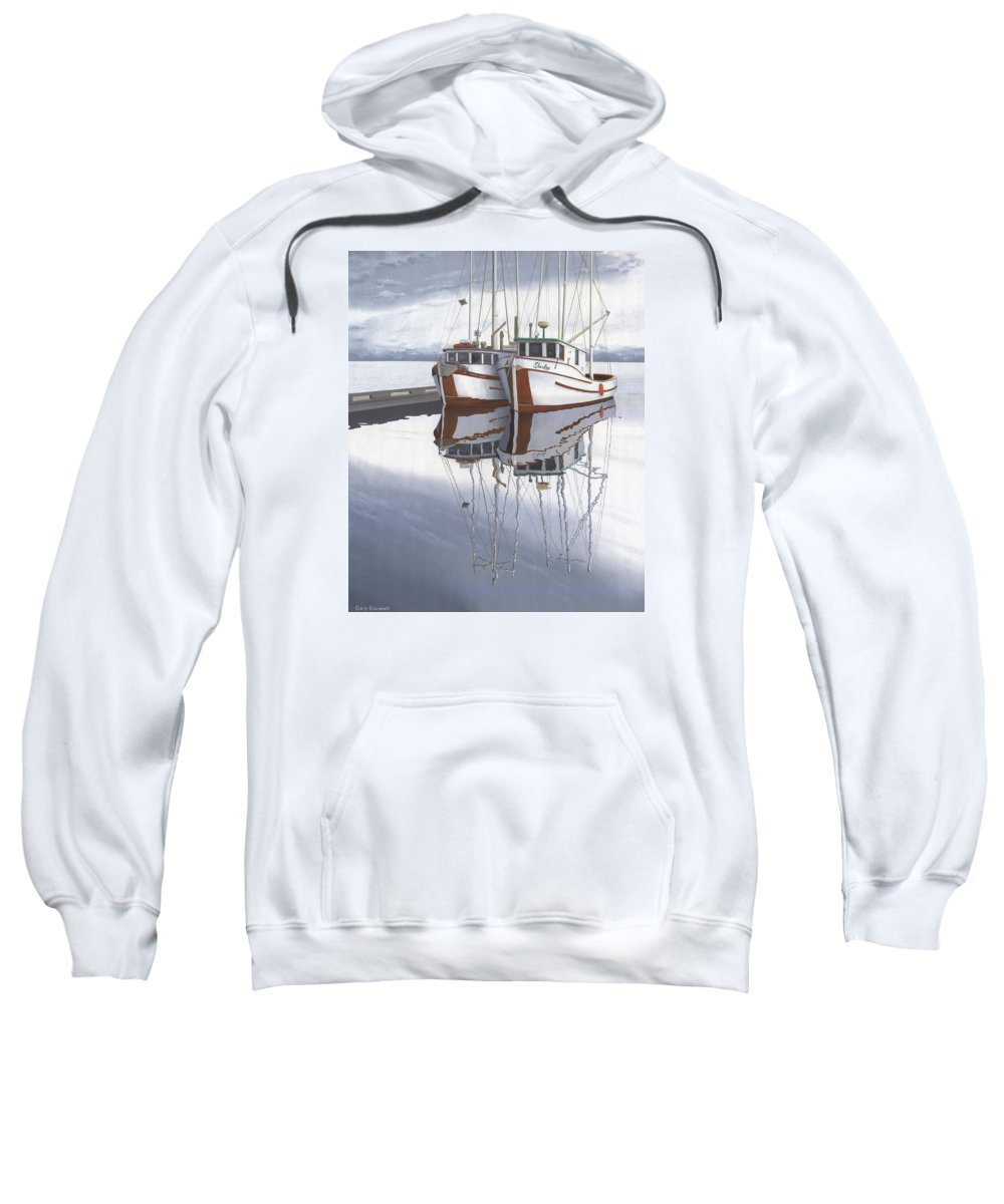 Fishing Boat Sweatshirt featuring the painting Powell River fishing boats by Gary Giacomelli