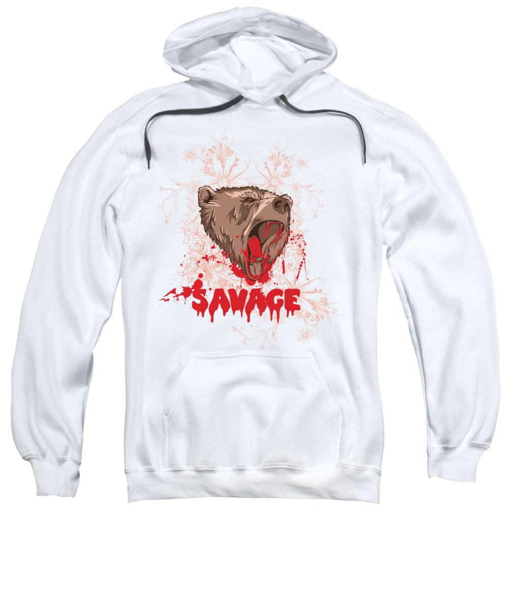 Animal Sweatshirt featuring the digital art Rampaging Bear Savage by Passion Loft