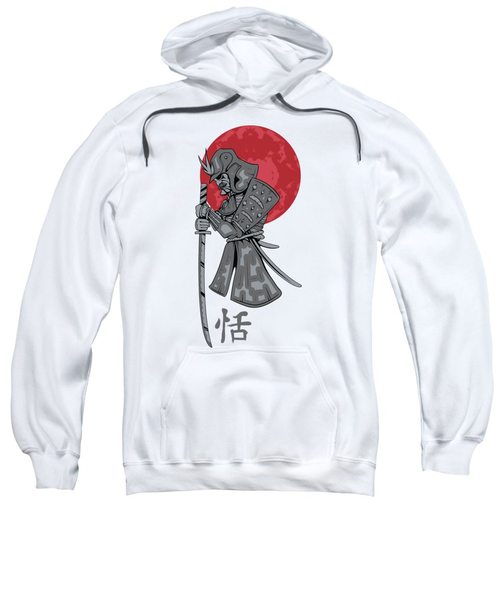 Japanese Sweatshirt featuring the digital art Red Sun Samurai by Passion Loft