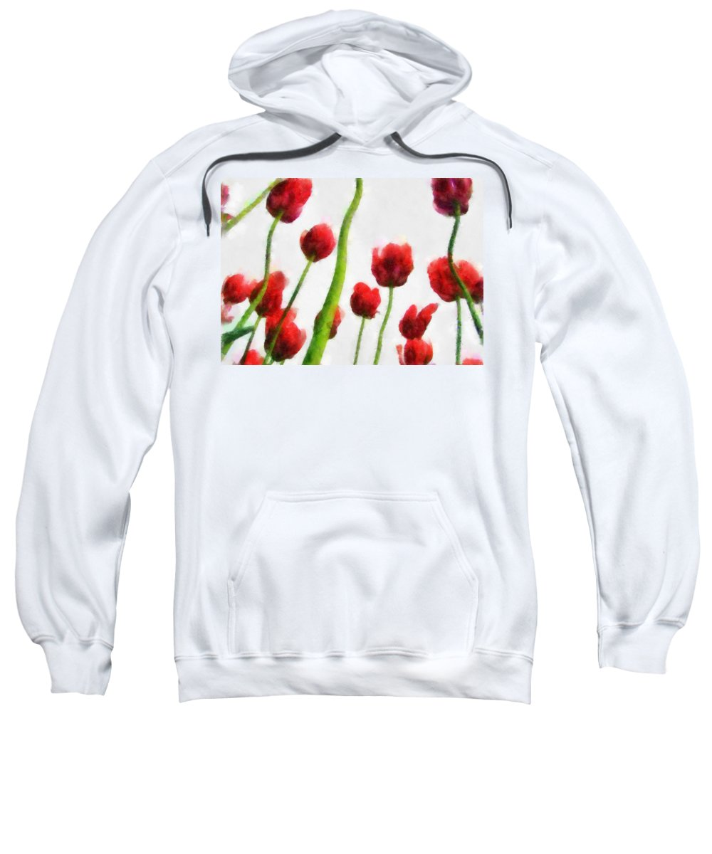 Hollander Sweatshirt featuring the photograph Red Tulips from the Bottom Up I by Michelle Calkins
