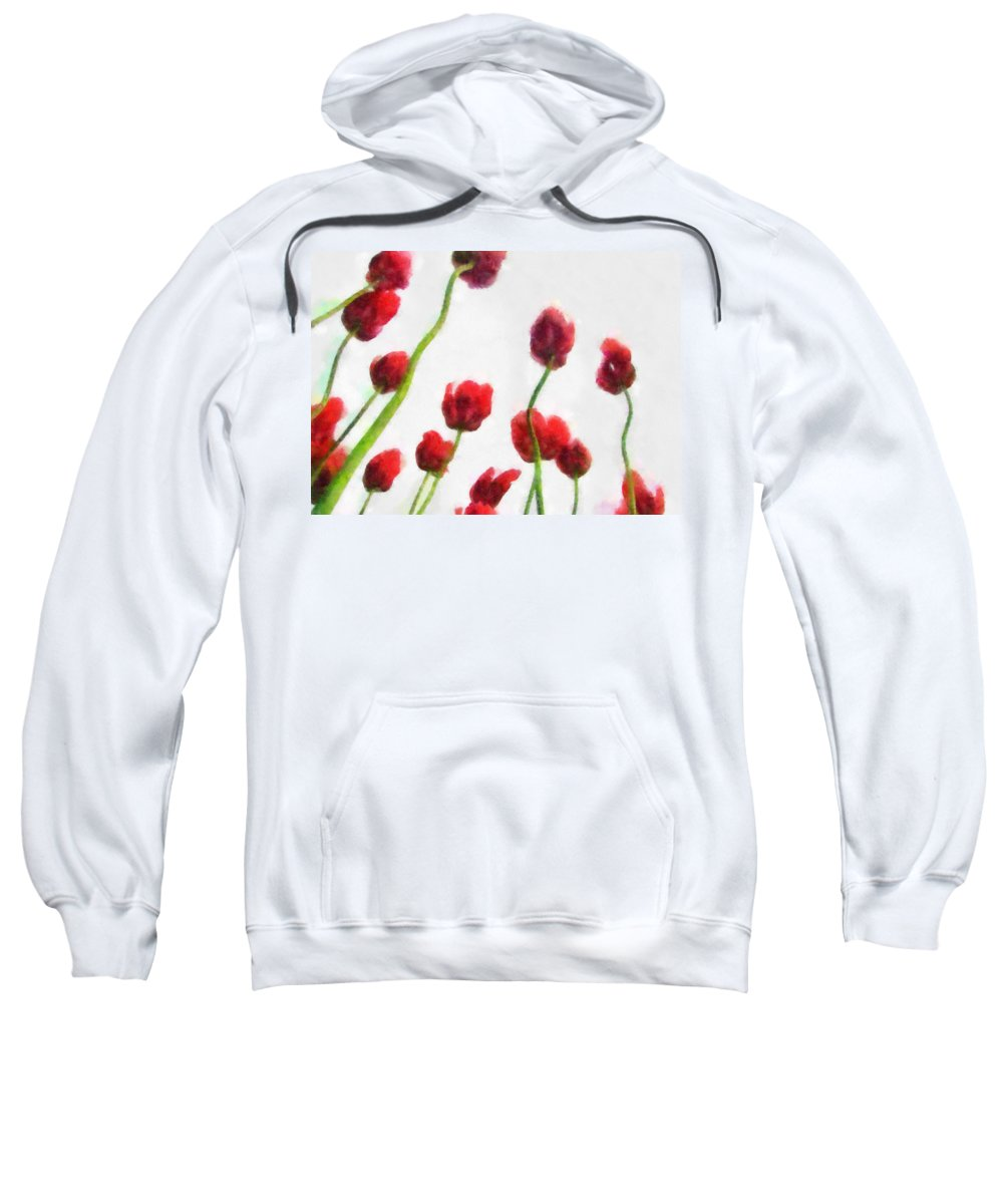 Hollander Sweatshirt featuring the photograph Red Tulips from the Bottom Up ll by Michelle Calkins