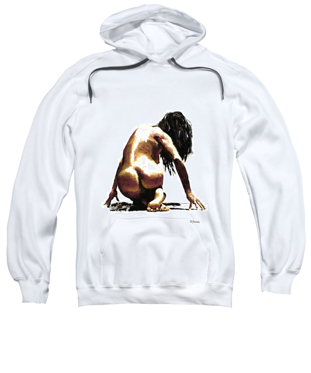 Nude Sweatshirt featuring the painting Remorse by Richard Young