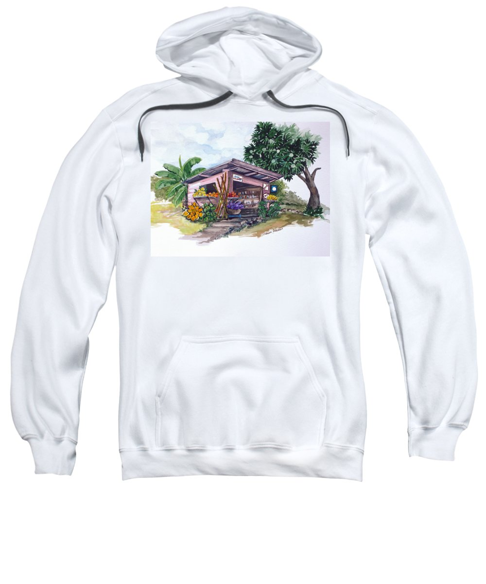 Caribbean Painting Little Shop Fruit & Veg Shop Painting Caribbean Tropical Painting Greeting Card Painting Sweatshirt featuring the painting Roadside Vendor by Karin Dawn Kelshall- Best