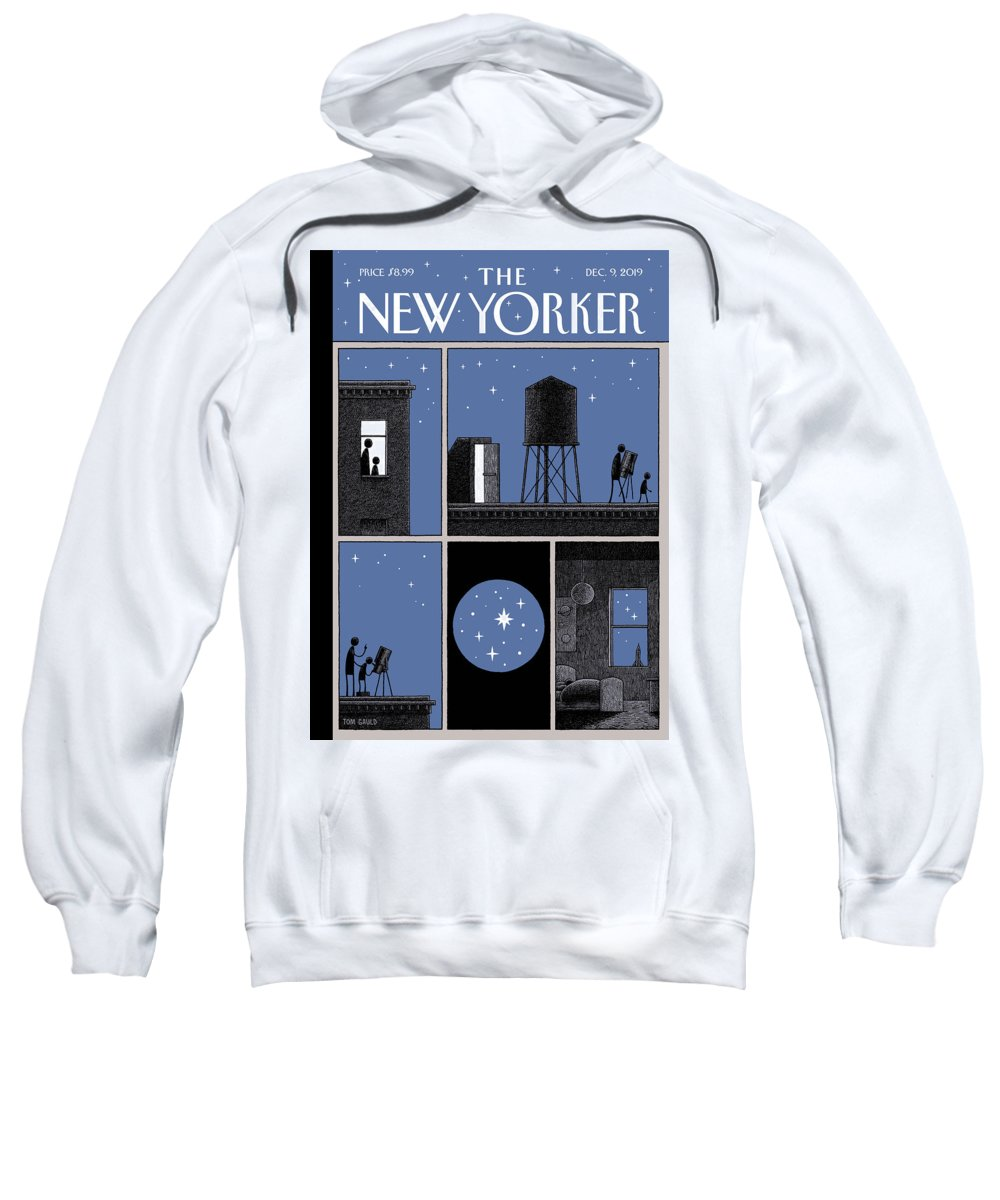 Rooftop Astronomy Sweatshirt featuring the drawing Rooftop Astronomy by Tom Gauld