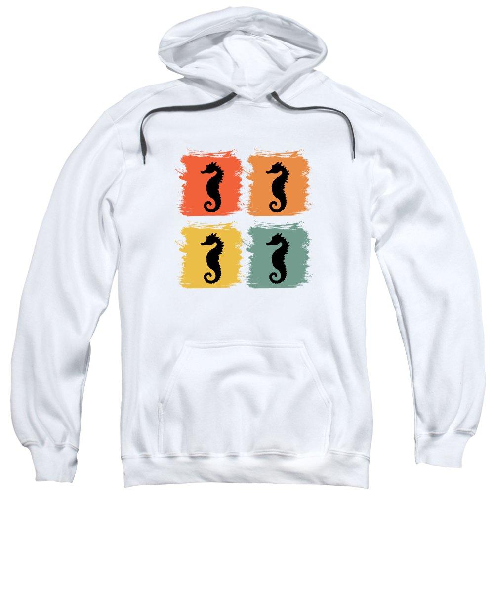 Seahorse Sweatshirt featuring the digital art Seahorse Fish Retro Pop Art Gift Idea by J M