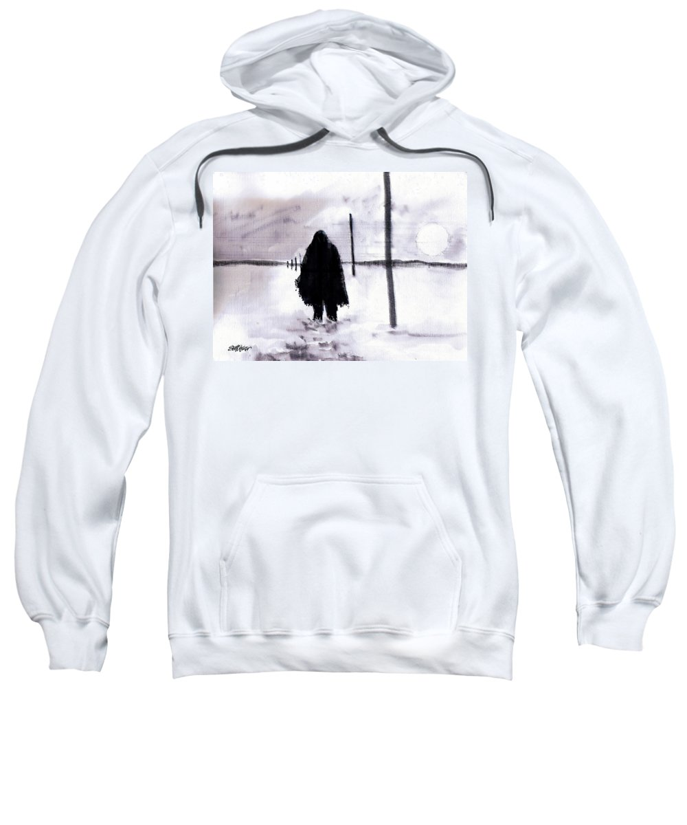 Siberia Sweatshirt featuring the drawing Siberian Stroll-Dr. Zhivago by Seth Weaver