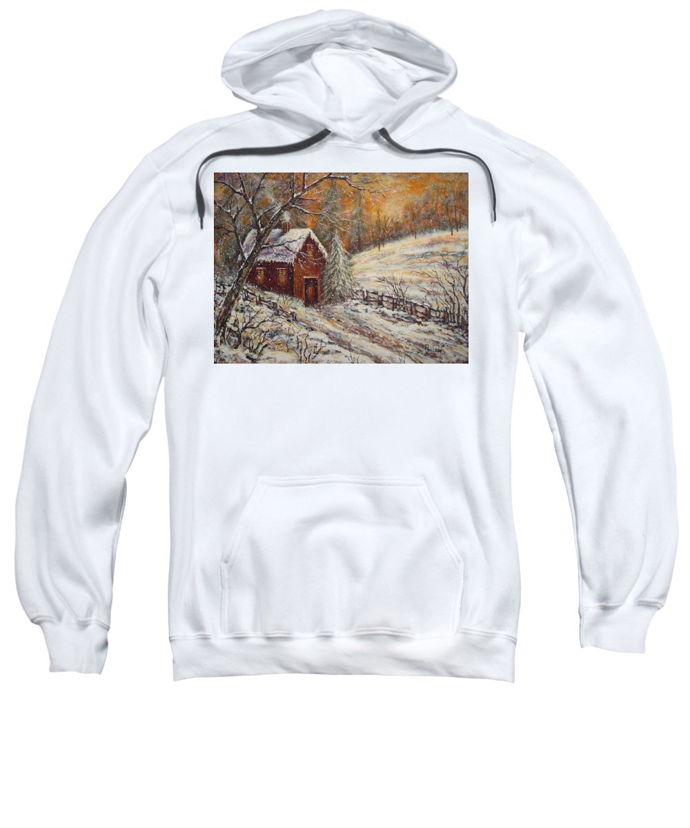 Landscape Sweatshirt featuring the painting Snowy Sunset by Natalie Holland