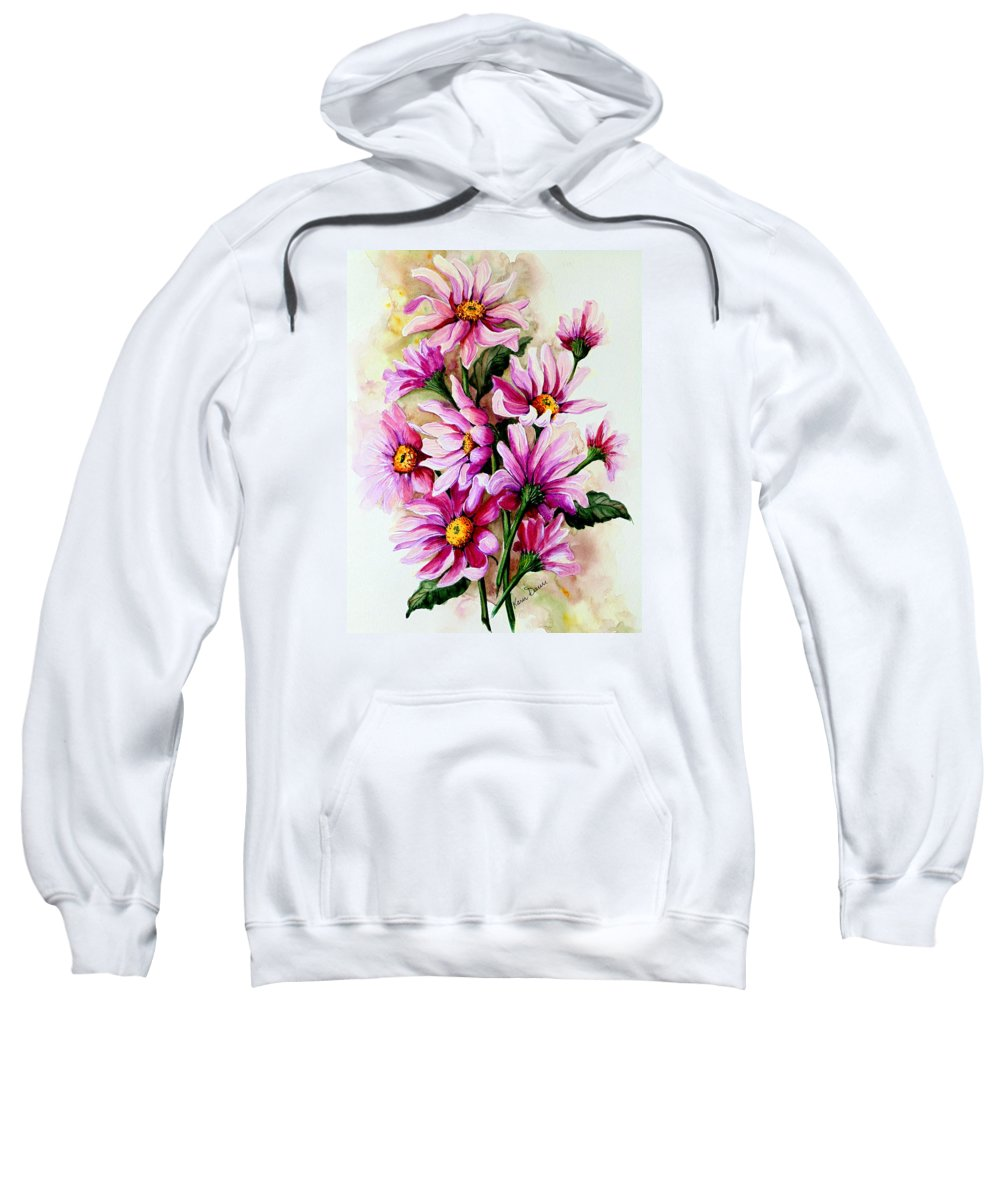 Pink Daisy Floral Painting Flower Painting Botanical Painting Bloom Painting Greeting Card Painting Sweatshirt featuring the painting So Pink by Karin Dawn Kelshall- Best