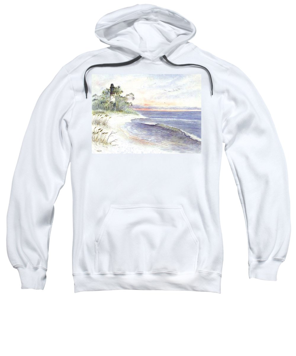 Lighthouse Sweatshirt featuring the painting Solitude by Ben Kiger