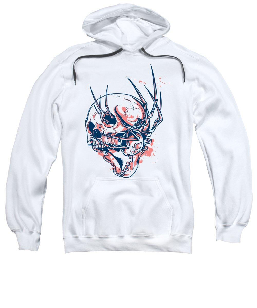 Halloween Sweatshirt featuring the digital art Spider Crawling Skull by Jacob Zelazny