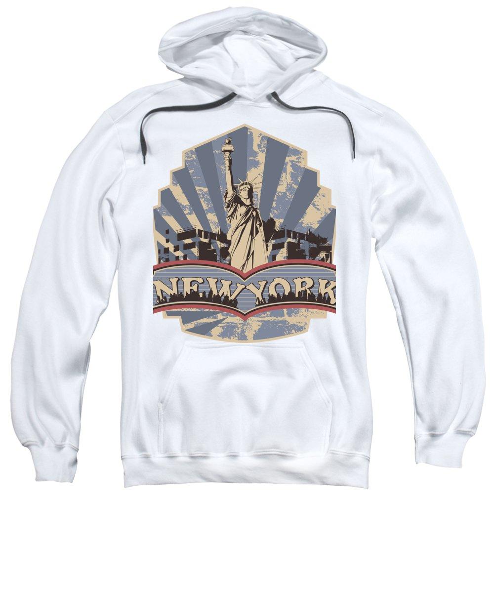 Military Sweatshirt featuring the digital art Statue of Liberty New York by Jacob Zelazny