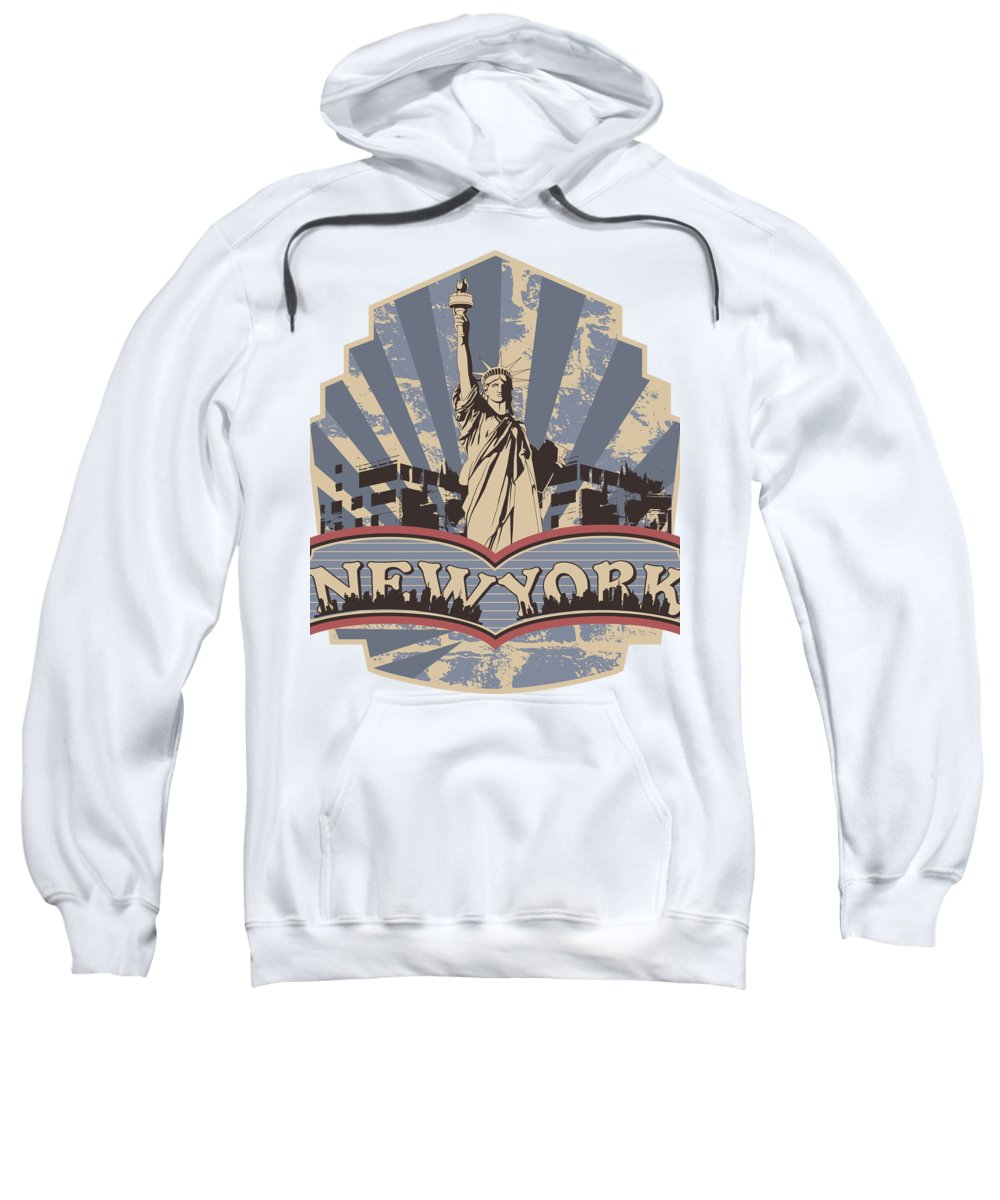 Military Sweatshirt featuring the digital art Statue of Liberty New York by Passion Loft