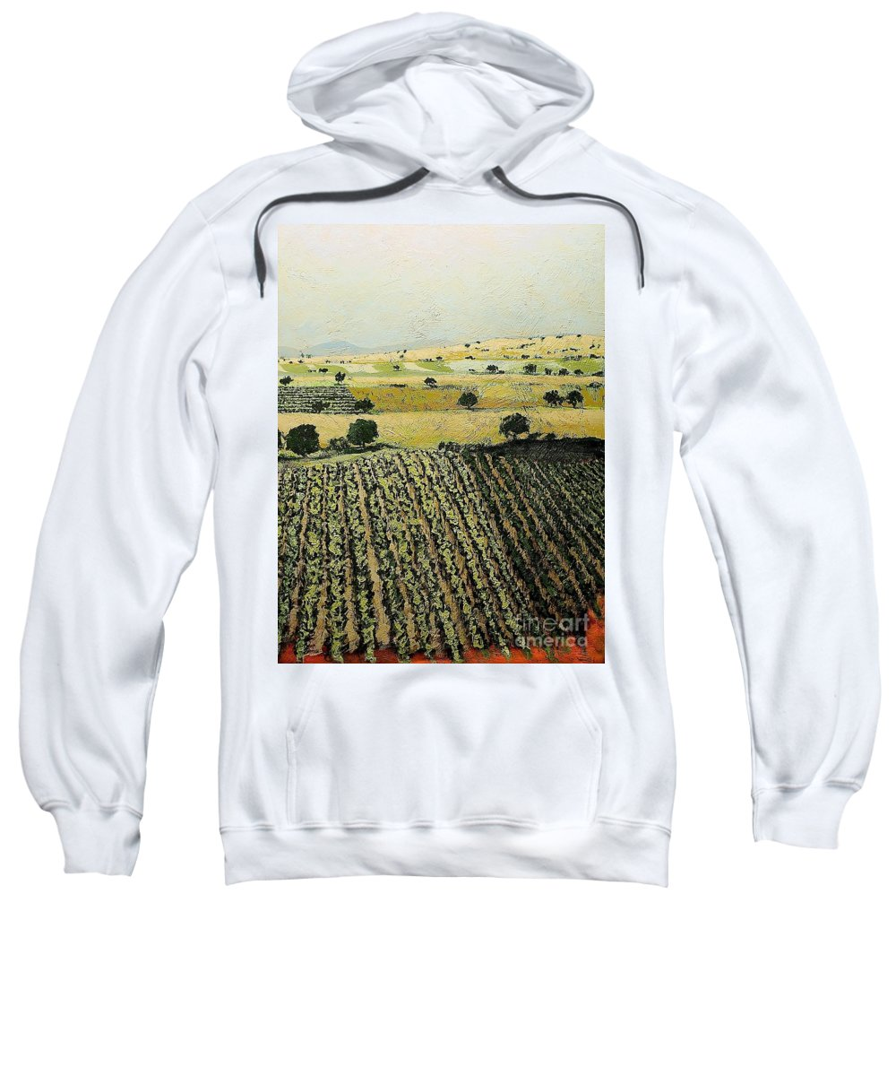 Landscape Sweatshirt featuring the painting Storms Over by Allan P Friedlander
