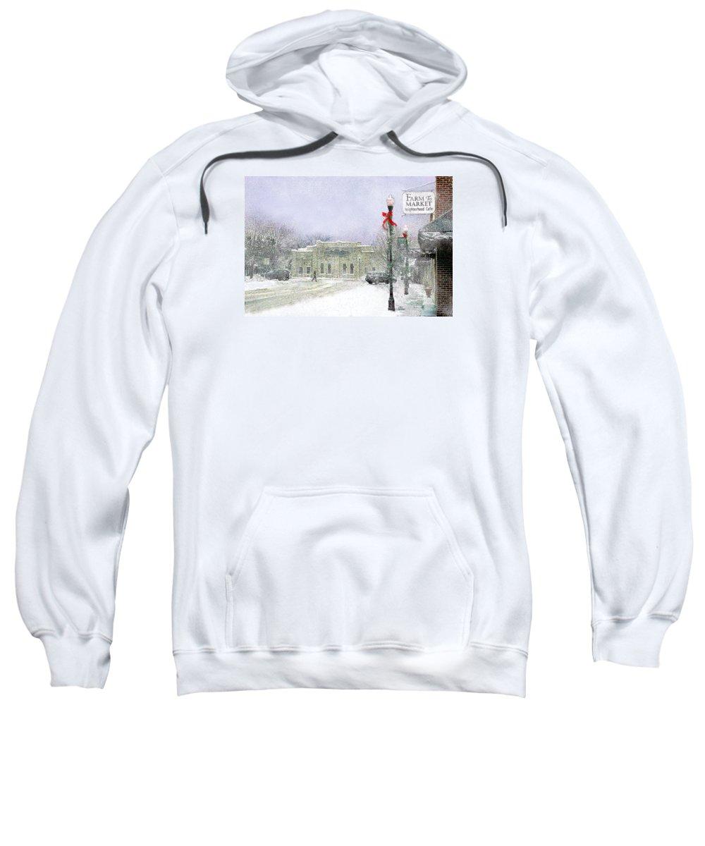 Snow Scene Sweatshirt featuring the photograph Strang Car Barn in Winter by Steve Karol