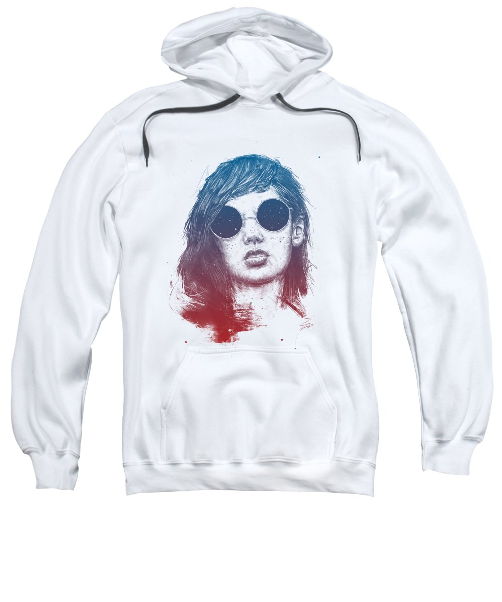 Summer Sweatshirt featuring the drawing Summer Nights by Balazs Solti