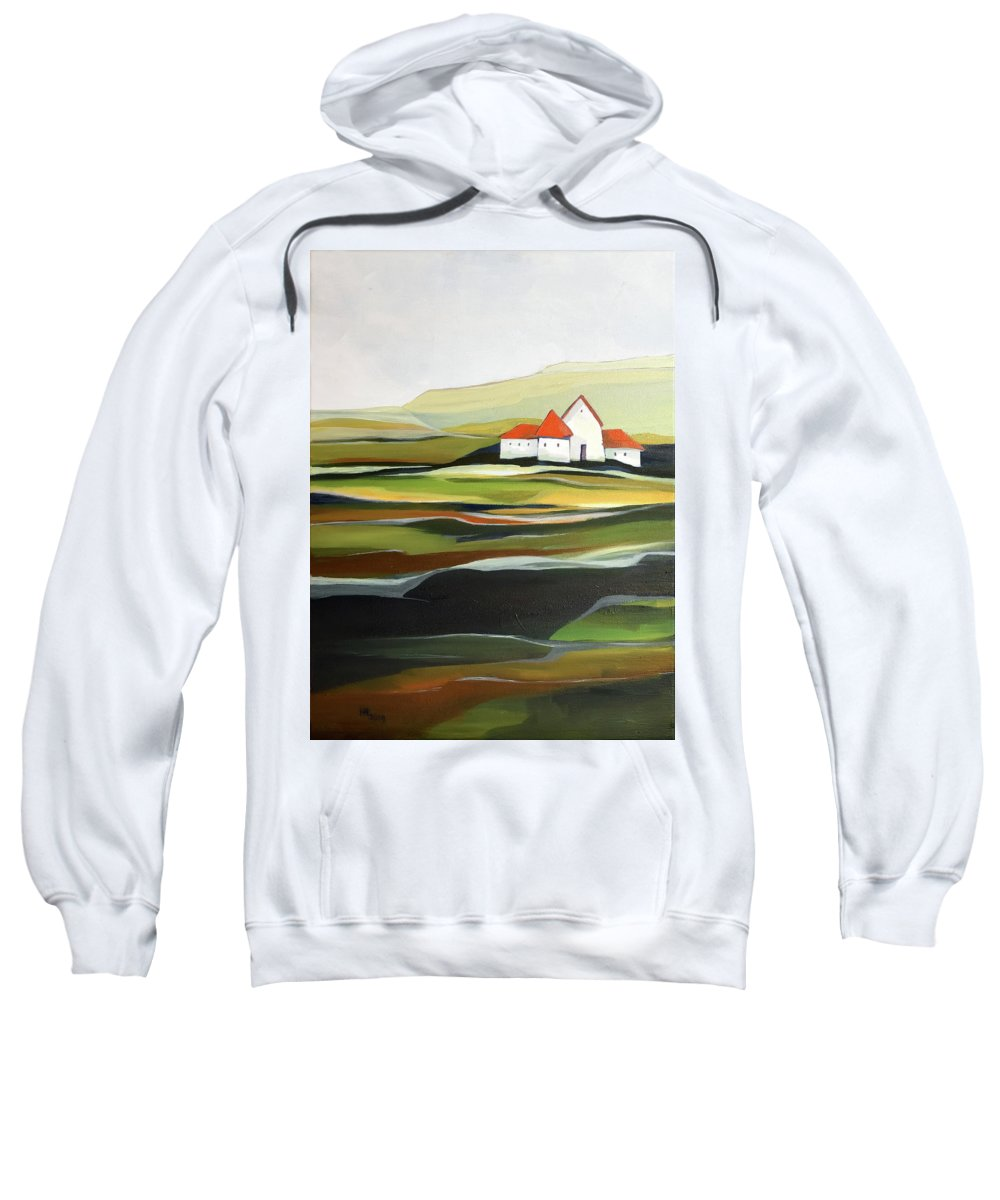 Oil Painting Sweatshirt featuring the painting The quiet land by Aniko Hencz