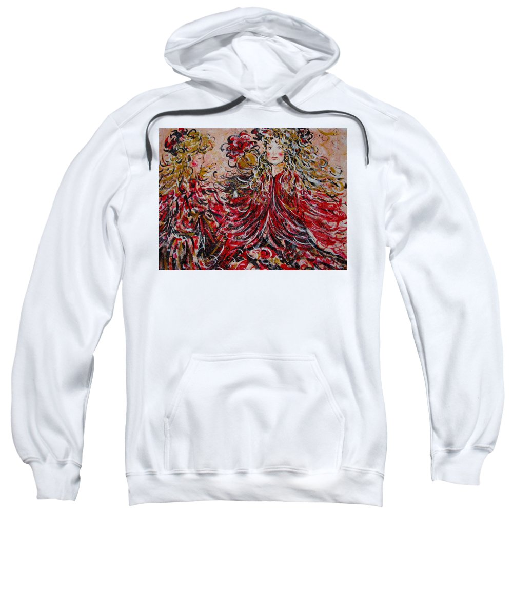 Dancers Sweatshirt featuring the painting The Spring Festival. by Natalie Holland