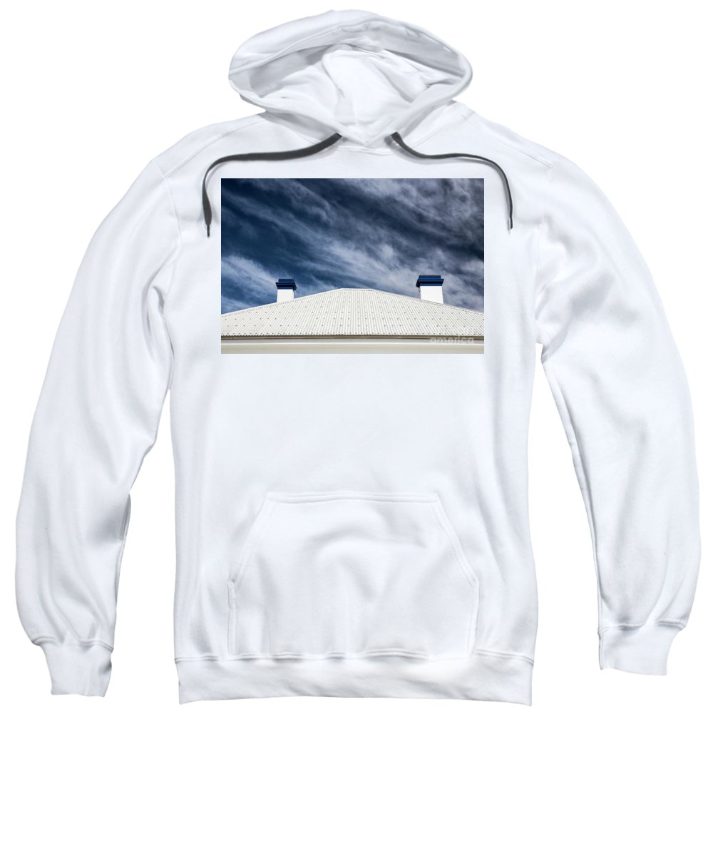 Tin Roof Sweatshirt featuring the photograph Tin roof and chimneys by Sheila Smart Fine Art Photography