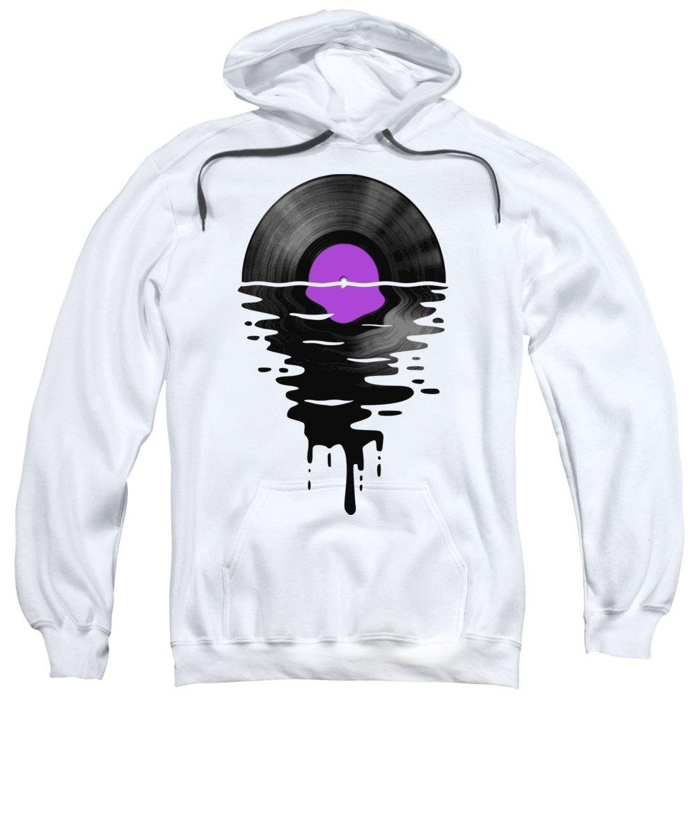 Vinyl Sweatshirt featuring the digital art Vinyl LP Record Sunset Purple by Filip Schpindel