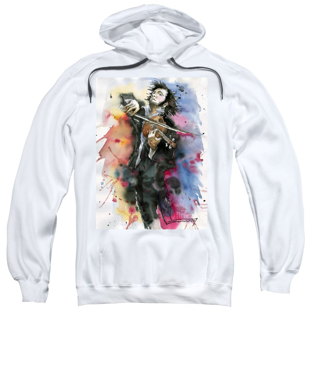 Music Sweatshirt featuring the painting Violine player. by Yuriy Shevchuk