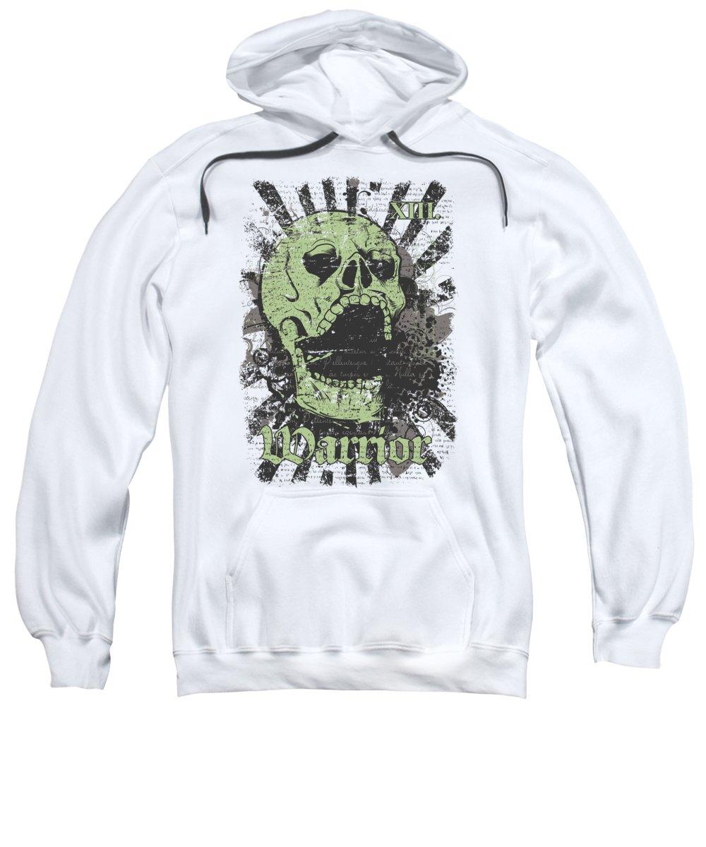 Skull Sweatshirt featuring the digital art Warrior Skull and Black Rays by Jacob Zelazny