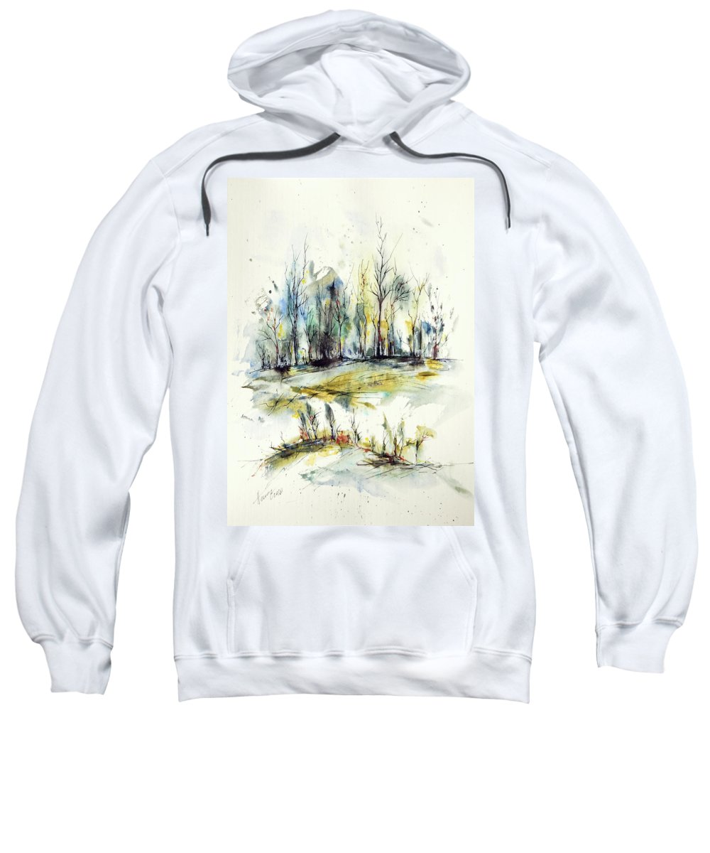 Watercolor Sweatshirt featuring the painting Winter trees by Aniko Hencz